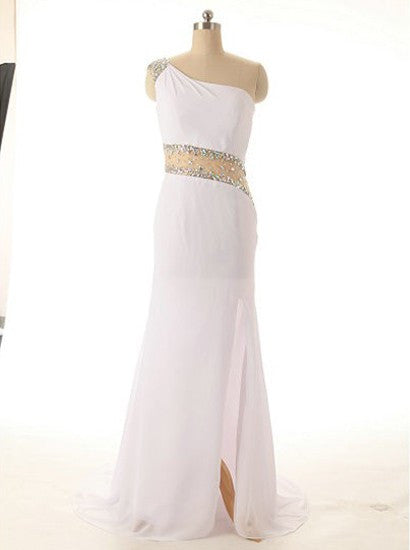 One Shoulder Illusion Waist White Mermaid Split Evening Dress Sexy Prom Homecoming Dress 2018 - FlosLuna