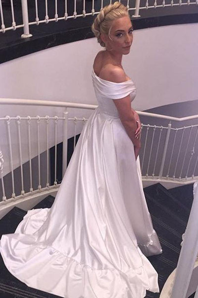 Elegant V-neck Cap Sleeves Satin Wedding Dress Bride Gown,wedding dresses,White Satin Off Shoulder Prom/Evening Dress - FlosLuna