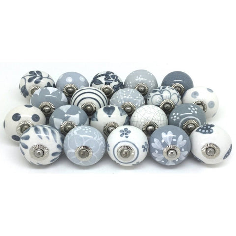 12 door knobs in gray & white, hand-painted ceramic knobs, cabinet handles, drawer handles by The Boho Street