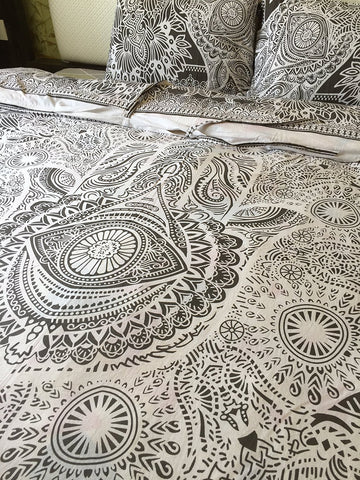 "New Exclusive Range of Queen Size 100% Cotton Duvet Cover Set With Pillow Covers By ""The Boho Street"", Indian Reversible Duvet Quilt Cover Coverlet Bohemian Doona Cover Handmade Duvet Cover 82"" x 92"""