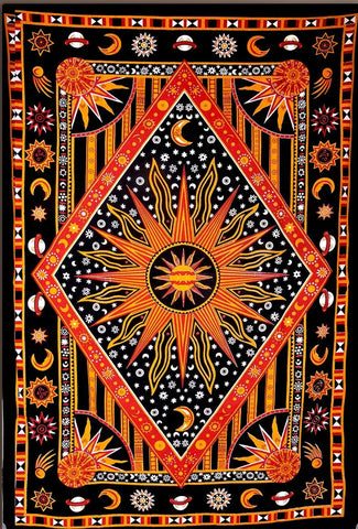 Celestial Sun Moon Stars Planet Tapestry, Indian Hippie Wall Hanging , Bohemian Bedspread, Mandala Cotton Dorm Decor Beach blanket