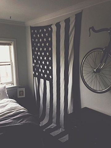 Exclusive 100 Cotton Black And White Vintage American Flag Tapestry By The Boho Street