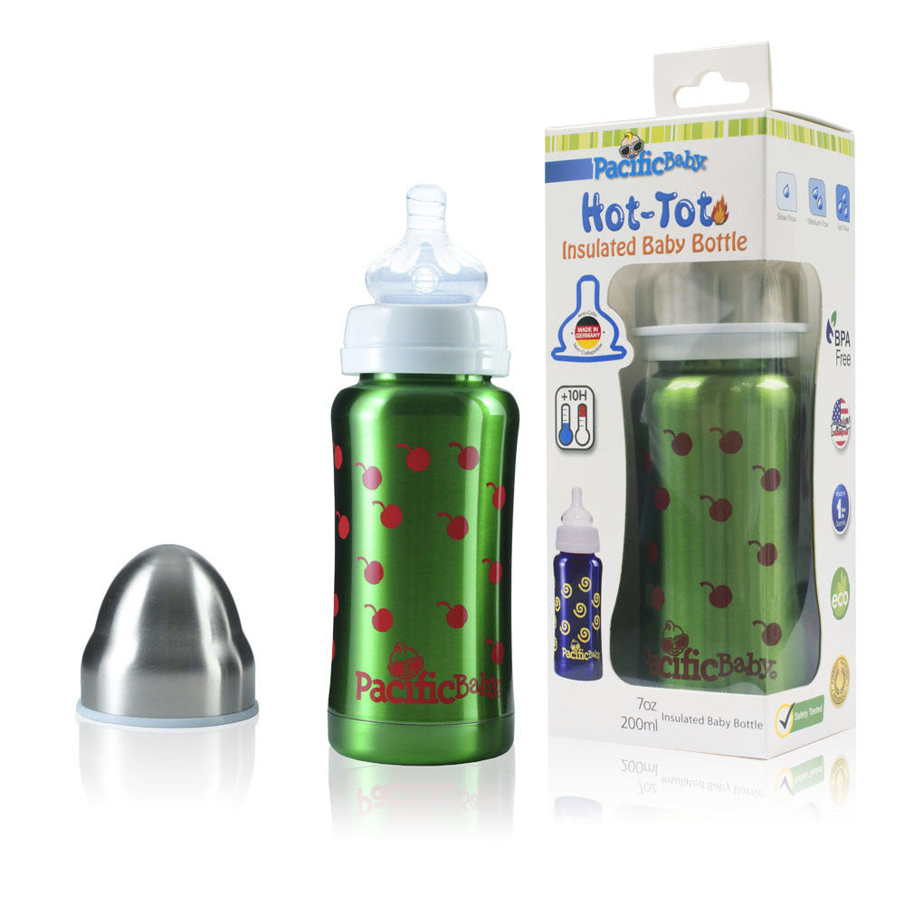 Pacific Baby Hot-Tot Insulated Baby Bottle, 7oz (8 Designs)