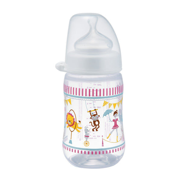 NIP Orthodontic PP Wide Neck Bottle, 260ml, Girl, 3-pack (2 designs)