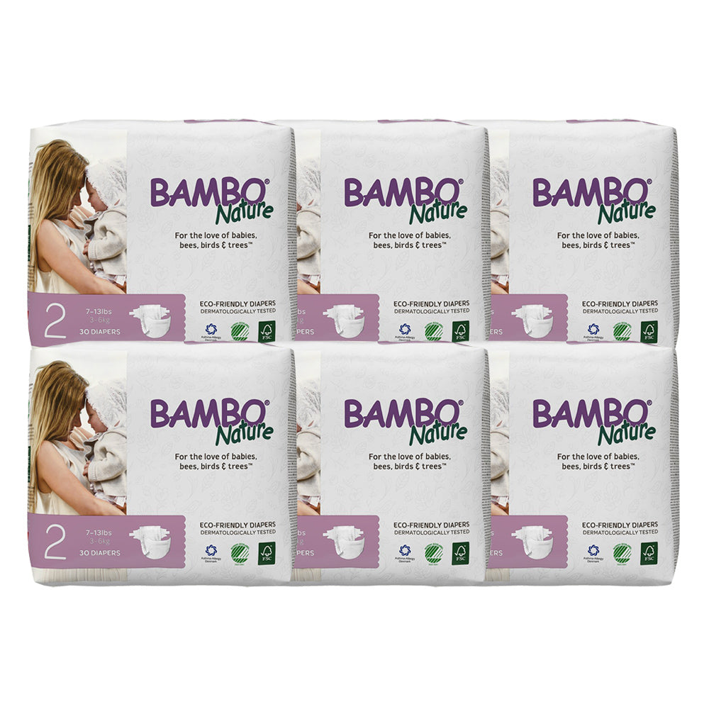 Bambo Nature Baby Diaper [Size 2 / 3-6kg] 30/pack, 6-packs