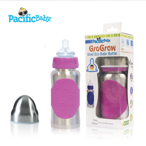 Pacific Baby [non-insulated] GroGrow Steel Eco Baby Bottle, 10oz (3 Designs)