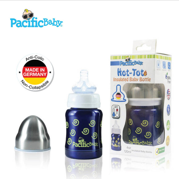 Pacific Baby Hot-Tot Insulated Baby Bottle, 4oz (4 Designs)