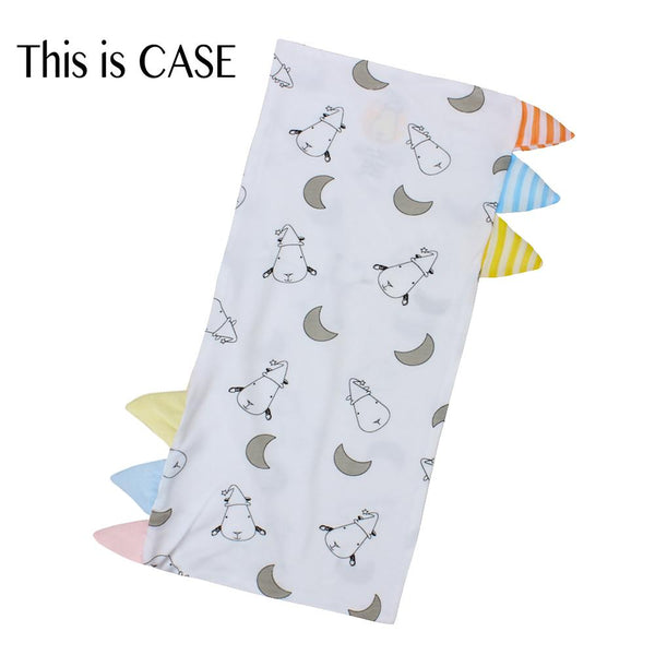 Bed-Time Buddy™ Case Small Moon & Sheepz White with Color & Stripe tag - Medium