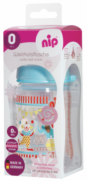 NIP Orthodontic PP Wide Neck Bottle, 260ml (4 designs)