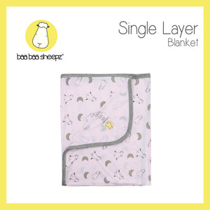 Single Layer Blanket Small Moon & Sheepz Pink - 36M