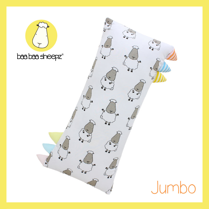 Bed-Time Buddy™ Big Sheepz White with Color & Stripe tag - Jumbo