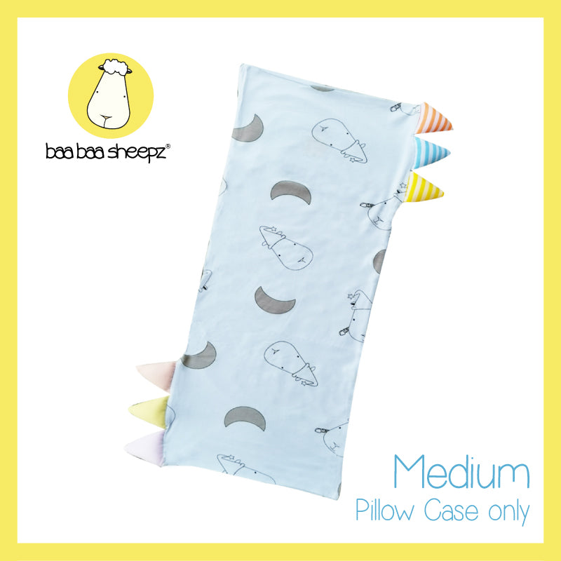 Bed-Time Buddy™ Case Big Moon & Sheepz Blue with Color & Stripe tag - Medium