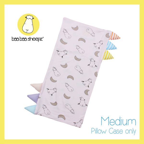 Bed-Time Buddy™ Case Small Moon & Sheepz Pink with Color & Stripe tag - Medium