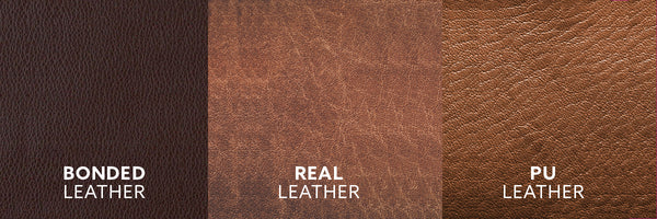 Difference between Bonded Leather - Real Leather - PU Leather - Swatches - www.ChairsThatGive.com