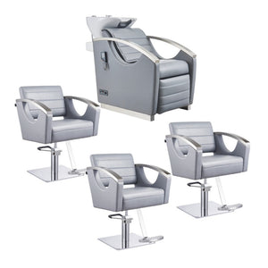 Dream In Reality DIR Bella III Backwash Unit + 3x Bello Styling Chairs Salon Package Hair Salon Package - ChairsThatGive