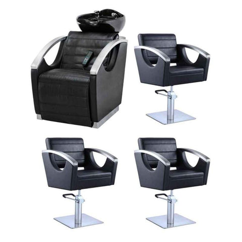 Image of Dream In Reality DIR Bella II Backwash Unit + 3x Bello Styling Chairs Salon Package Hair Salon Package - ChairsThatGive