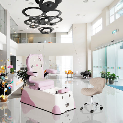 Whale Spa Pedicure Chair Junior Spa, Pink Kitty Kids Children's Pedicure Chair with Free Tech Stool