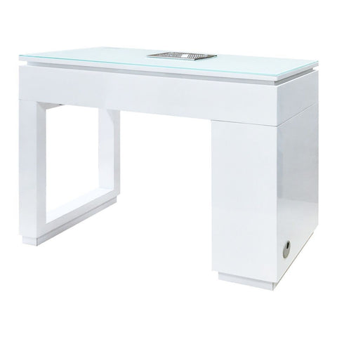 Image of Whale Spa Whale Spa Valentino Lux Manicure Table with Modern Glass Top Manicure Table - ChairsThatGive