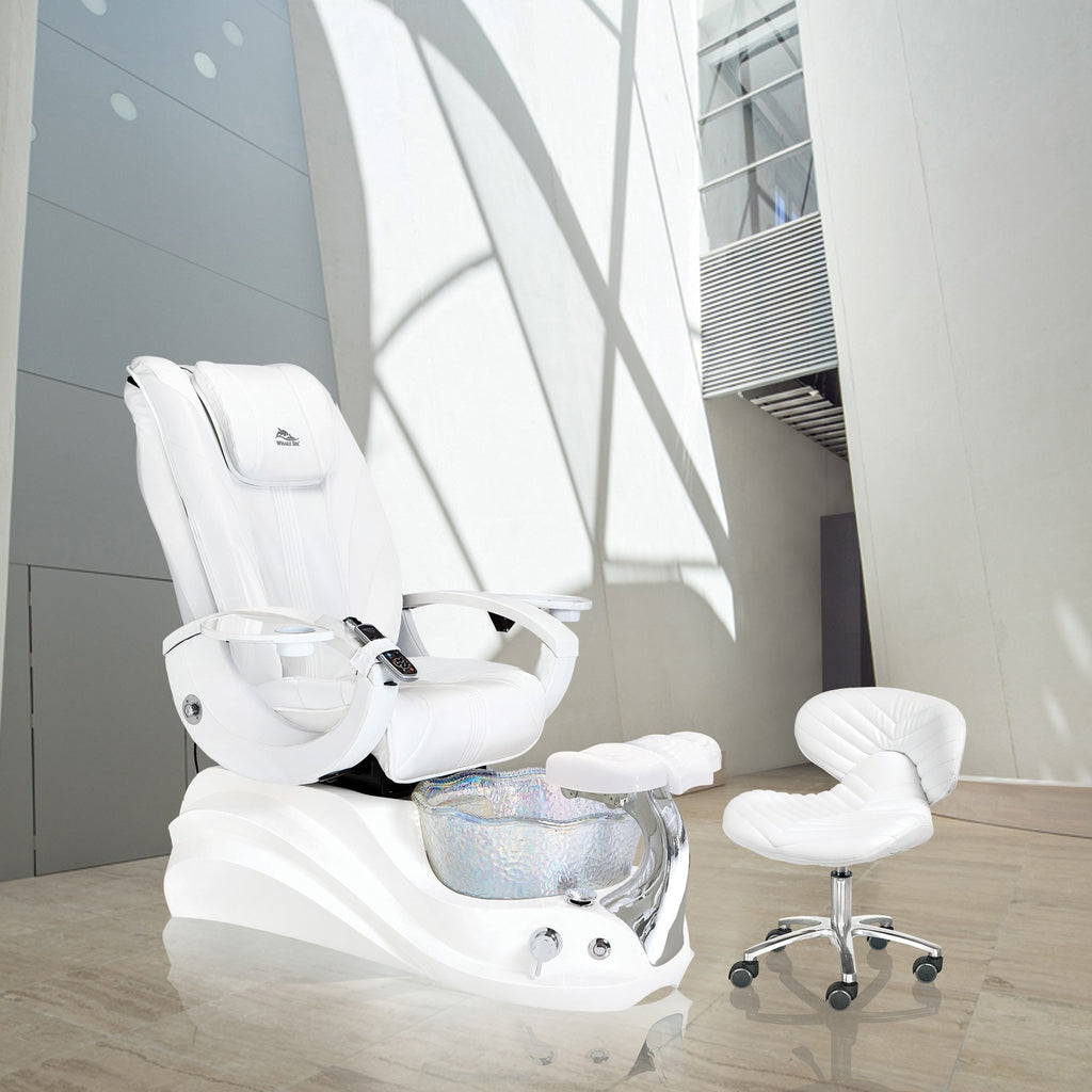 Whale Spa Pedicure Chair Crane White Edition with Free Trolley & Stool