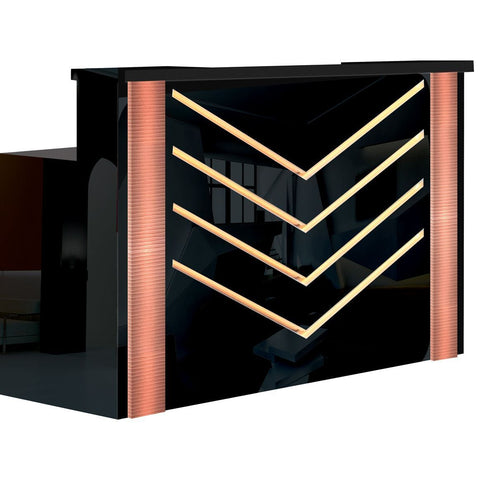 Whale Spa Reception Desk Chevron with Rose Gold Accents and FREE Reception Chair, 60x24x42 inches