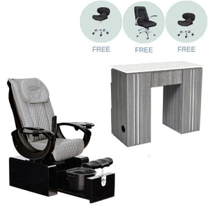 Whale Spa Whale Spa PACKAGE - Pure Portable No Plumbing Pedicure Chair & Whale Spa Manicure Table w/2 FREE Stools & Customer Chair Pedicure Chair - ChairsThatGive