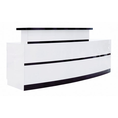 Whale Spa Reception Desk LUX BW Stripes - 96 Inches Long, Laminated with Storage Space, Includes FREE Reception Chair