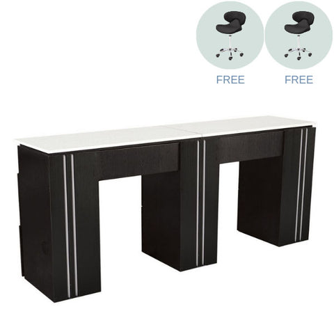 Whale Spa Whale Spa Tempo Collection - Double Manicure Table with 2 Free Tech Stools Manicure Table - ChairsThatGive