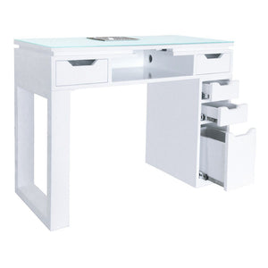 Whale Spa Whale Spa Valentino Lux Manicure Table with Modern Glass Top Manicure Table - ChairsThatGive
