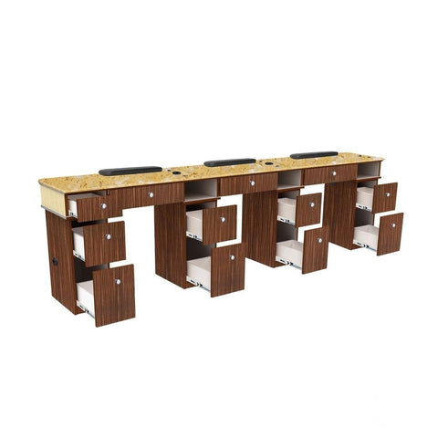 Image of Mayakoba Mayakoba Verona II Triple Nail Table Manicure Nail Table - ChairsThatGive