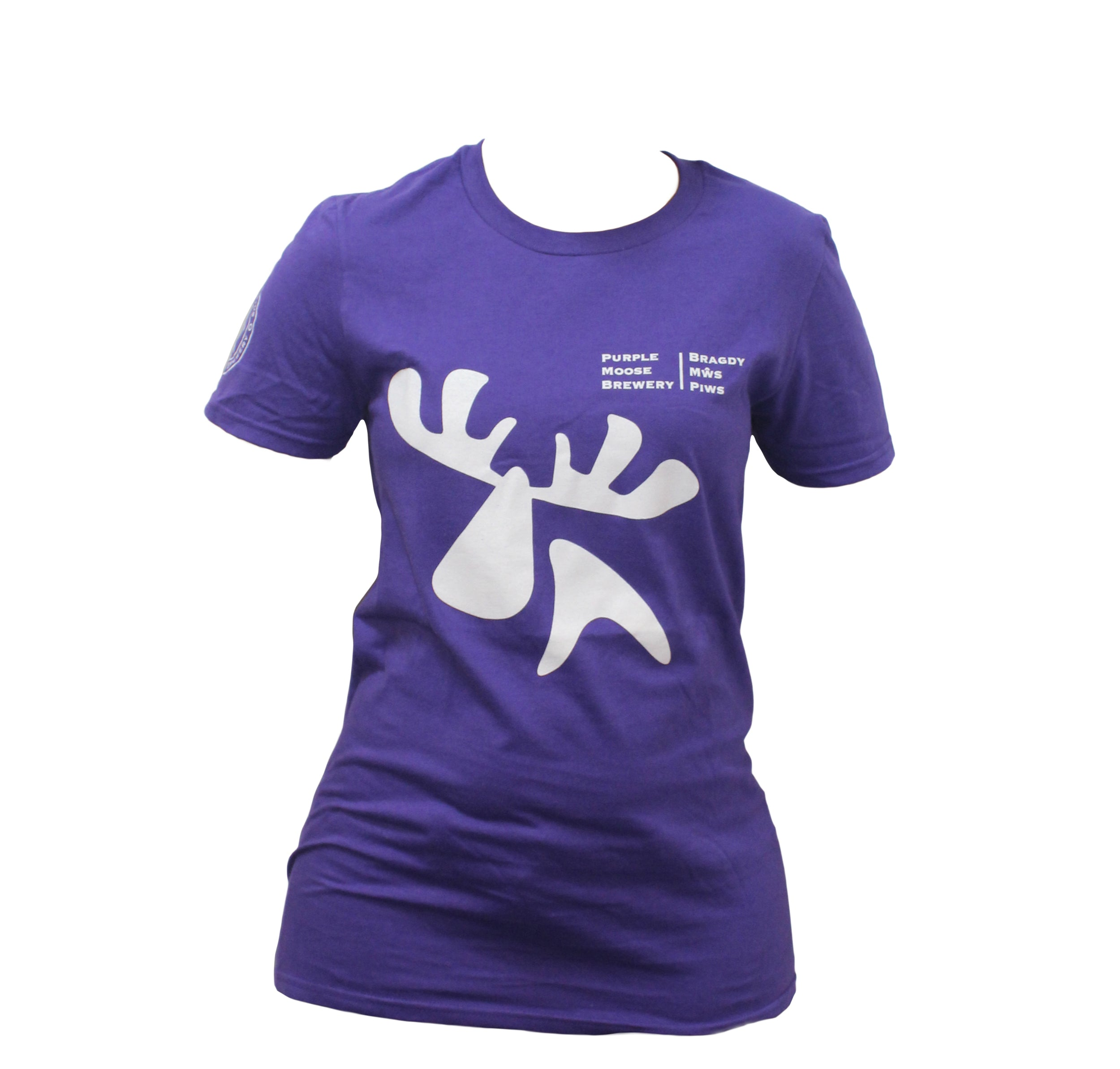 Purple t-shirt white logo