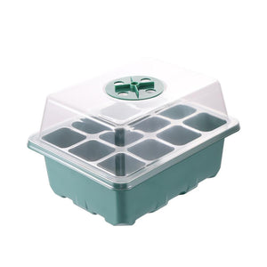 12 Hole Seedling Starter Tray Nursery Box with Lid - 5Pc