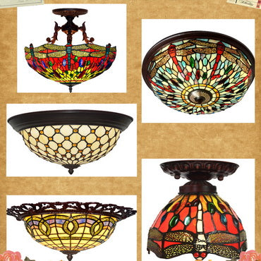 Tiffany (Semi)Flush Mount Ceiling Lights