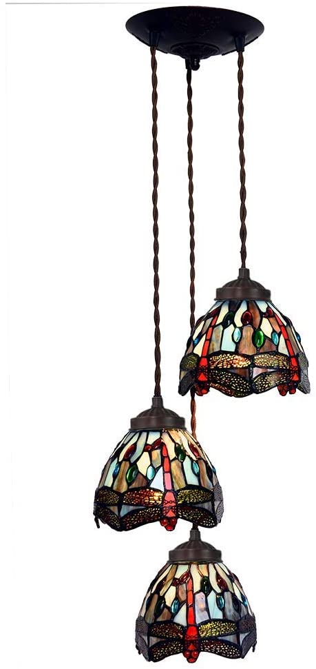 3 light blue Dragonfly Style Tiffany Stained Glass Pendant Lights