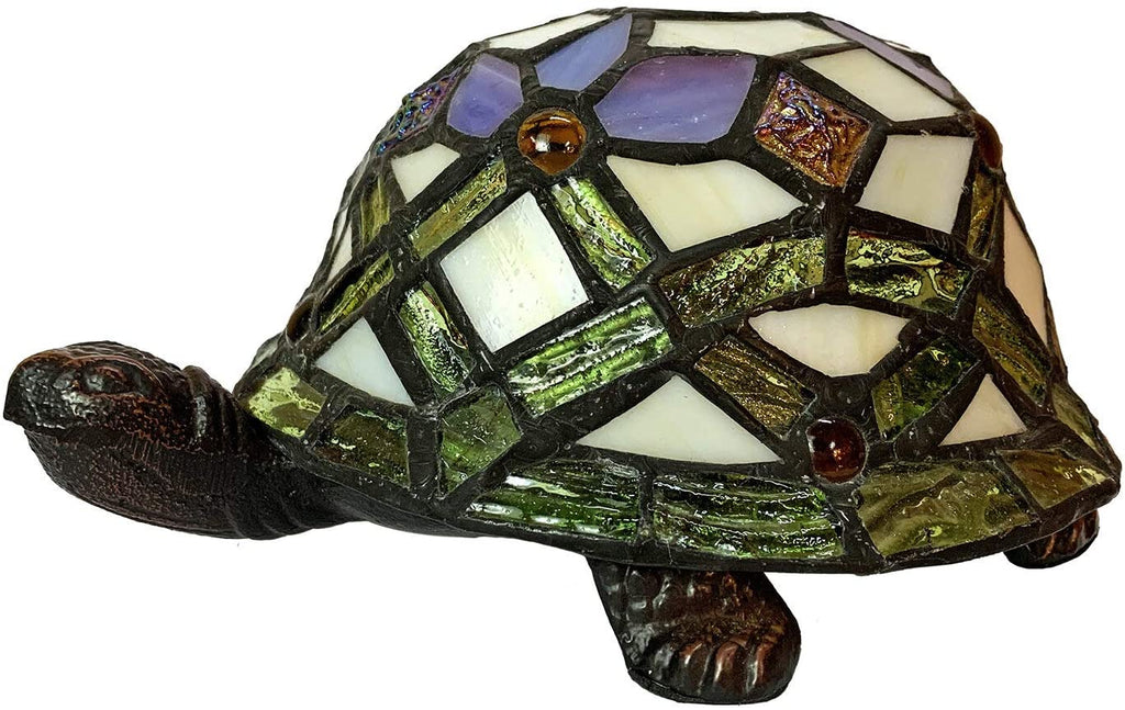 Cute Purple Turtle Tiffany Leadlight Art Deco Stained Glass Accent Lamp