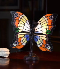 Tiffany Butterfly Fairy Accent Stained Glass  Figurine Art Deco Lamp