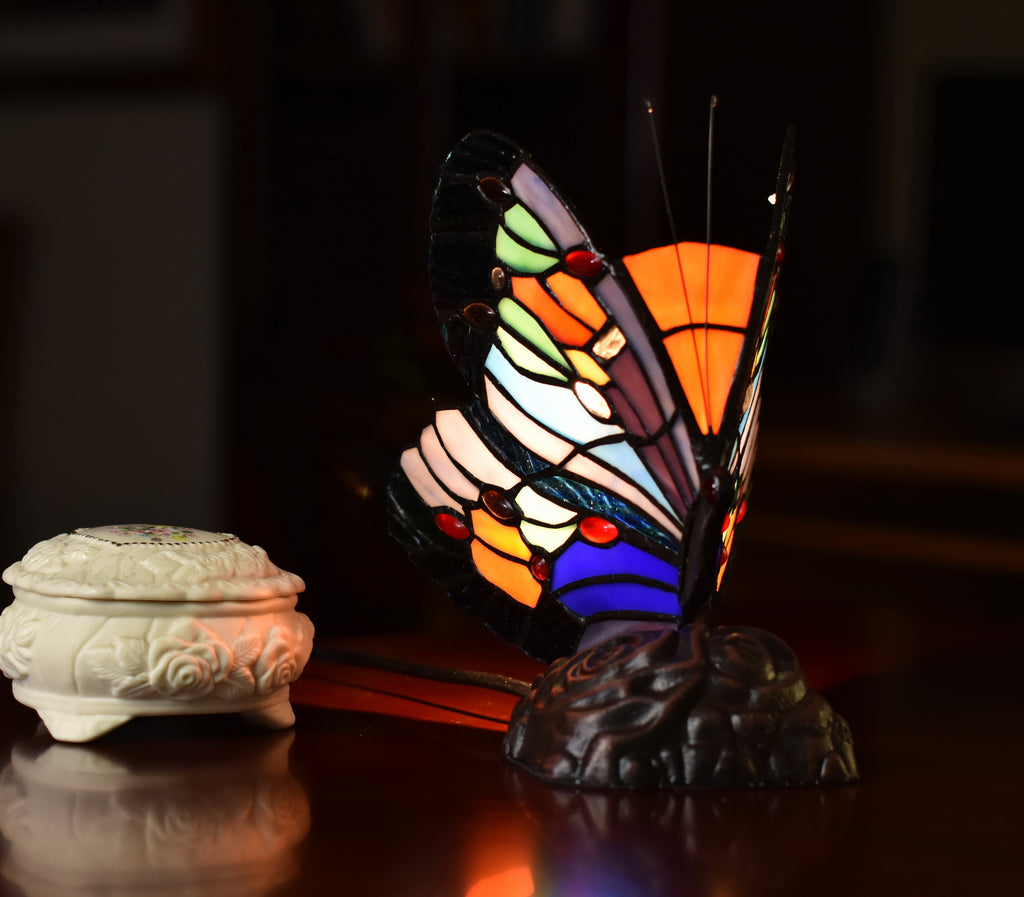 Vivid Cute Butterfly  Tiffany Leadlight Stained Glass Art Deco Table Lamp