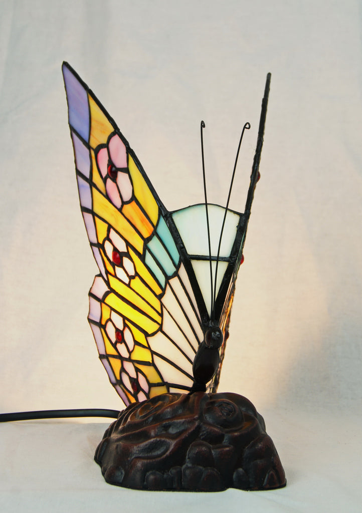 Cute Butterfly  Tiffany Leadlight Stained Glass Art Deco Table Lamp