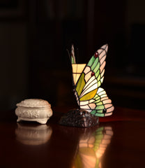 Stunning Butterfly  Tiffany Leadlight Stained Glass Art Deco Table Lamp