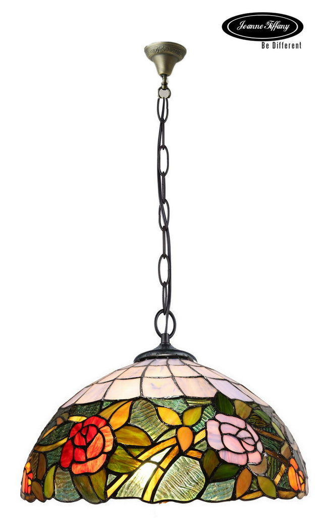 "18"" Rose  Style Stained Glass Leadlight Tiffany Pendant Light"