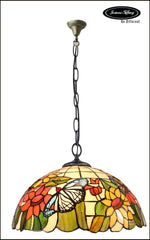 "18"" Butterfly on  sunflower  Stained Glass Leadlight Tiffany Pendant Light"