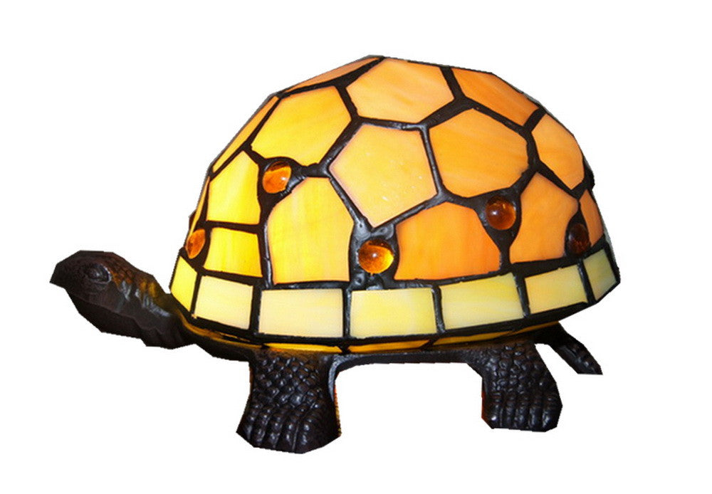 Amber Turtle Tiffany Leadlight Art Deco Stained Glass Accent Lamp ...