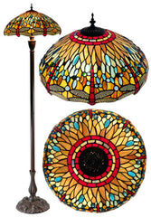 "18"" Classical  Dragonfly  Stained Glass Tiffany Floor Lamp"
