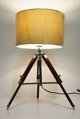 Industrial style Tripod Table Lamp Beige shade with Chocolate color wooden base