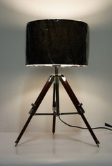 industrial style Tripod Table Lamp Black shade with Chocolate color wooden base
