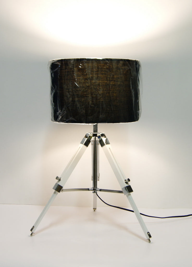 Industrial style Tripod Table Lamp Black shade with white wooden base