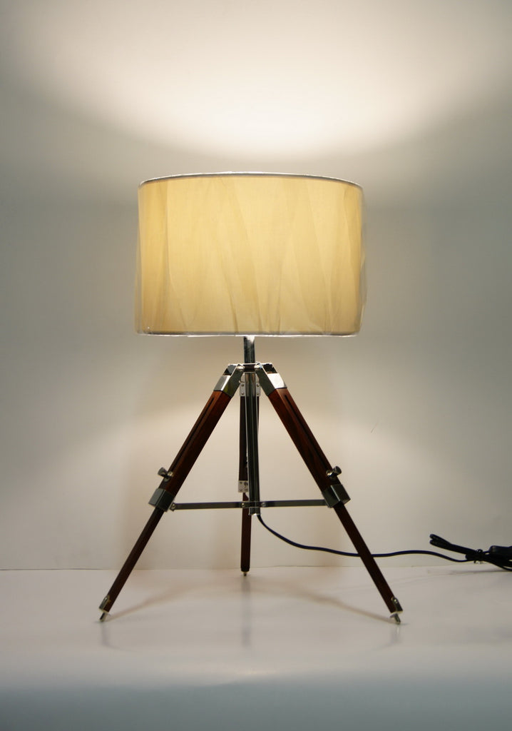 Industrial style Tripod Table Lamp White shade with white wooden base