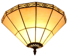 Mission Stained Glass Tiffany Wall Light  with Intricate Filigree Accent