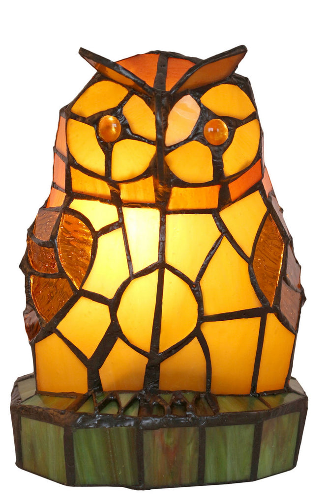Amber Owl Design Tiffany Stained Glass Table Lamp