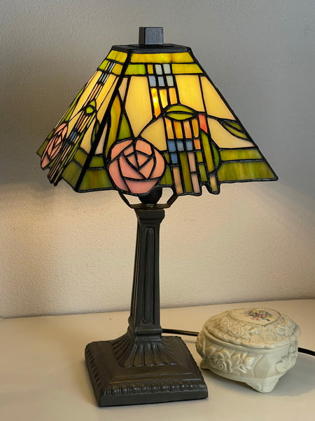 "Classical 8"" Square Rose Style Mission Tiffany Mini Lamp"