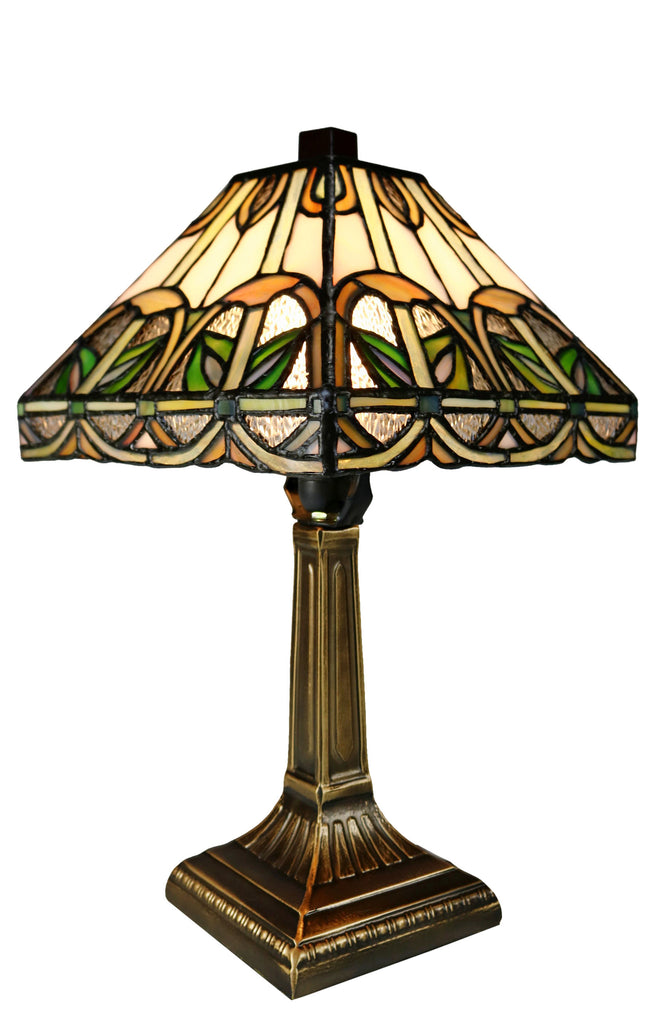 "Classical 8"" Alcea Square Shade  Mission Style Mini Tiffany Desk Lamp"